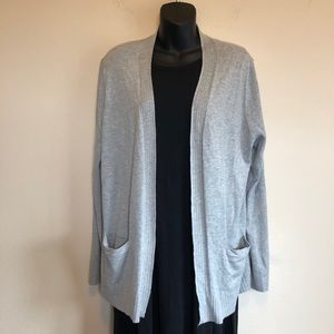 Jones New York Grey Cardigan w Cables and Pockets